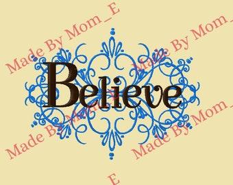 Believe Embellished Scroll Design