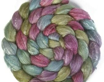 Handpainted Merino Bamboo Silk Roving - 4 oz. ENCHANTED - Spinning Fiber