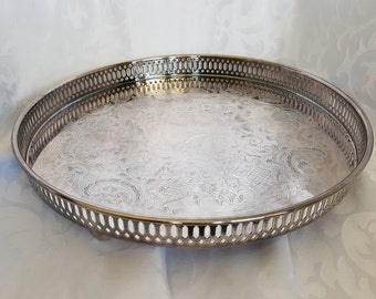 Vintage Silver Plate Serving Tray, Silver Serving Tray, Marlboro Tray, Silver Tray, Vintage Silver Tray, Round Silver Tray