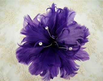 Purple Customized Feather Flower Bouquet Faux flowers Embellishment Millinery Goose Feathers Hat Making for Wedding Fascinators 1 Piece