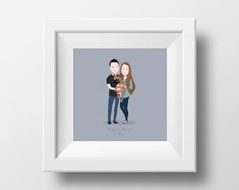 Custom portrait illustration, birthday/wedding/anniversary gift - DIGITAL FILE (not a physical print)
