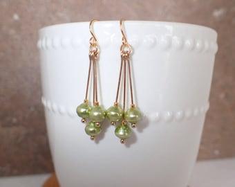 Green Pearl Beaded Dangle Earrings