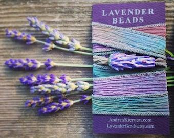 Lavender Glass Bead Wrap Bracelet, silk wrap, floral bracelet, lavender jewelry, silk ribbon cuff wrap bracelet, lampwork bead, boho