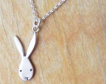 Bunny sterling silver necklace - cute Easter necklace - gift for her - for mom - for girl