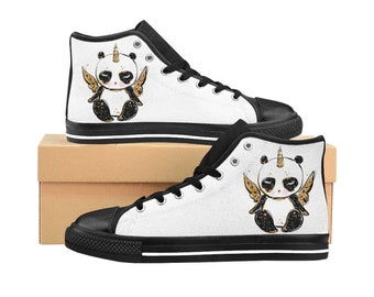 Womens High Top Sneakers Panda Print High Top Shoes Sneakers Gifts For Her Teen Sneakers Unique Print Shoes Custom Sneakers, Pandacorn