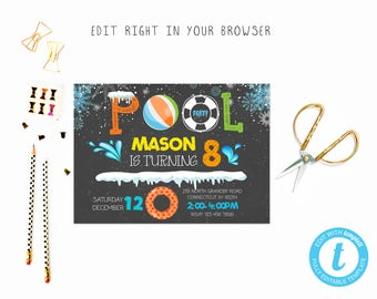 Winter pool birthday party tem, TRY BEFORE you BUY, instant download, edit yourself invitation,Template Editable