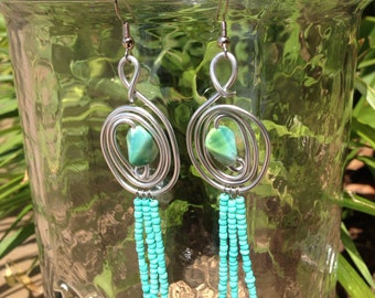 Sea Spiral earrings with mint green fringe