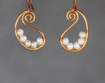 Pearl Scroll Teardop Copper wiring hoop earring handmade US freeshipping Anni Designs