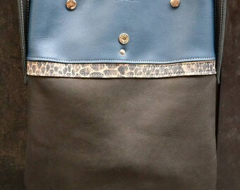 """Bag """"summer"""" convertible, Midnight blue and black genuine leather"""