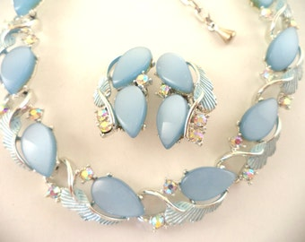 Light Blue Moonglow Thermoset Necklace Earrings Set Unsigned Coro Lisner Claudette