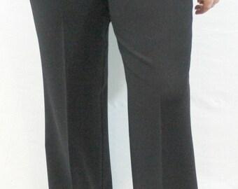 Black Pair of Trousers with side zipper and black slit pockets by Margaret M. Fall slacks, Winter slacks, versatile slacks, stretchy slacks.
