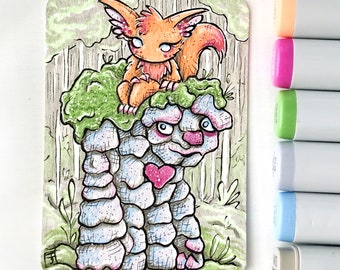 Unlikely Companions - Original ACEO hand drawn, copic illustration, Artist Trading Card, Sketchcard 2.5 x 3.5 inches