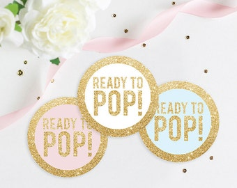 Ready To Pop Baby Shower Gold Glitter Favor Tag, Popcorn Tag, Baby Shower Tag, Baby Shower Sticker, 2 Inch Stickers