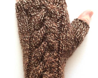 Texting Gloves for Women, Handknit Gloves, Hand Warmers, one of a kind, mismatched gloves, brown, tan, rust, Irish Coffee, Australian wool