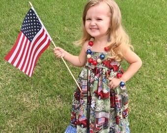 Back To School Dress - Girls Patriotic Dress - Girls Ruffle Dress - Girls Lace Dress - Toddler Sundress - Girls Red Dress - Toddler Dress