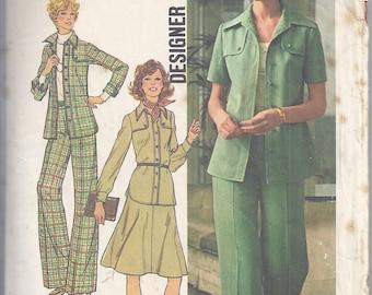 Simplicity 7046 Vintage Sewing Pattern from 1975.  Shirt, Jacket, Pants, Skirt.  Designer Fashion, Bust 36