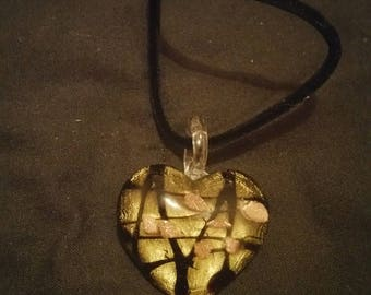 Glass heart glitter and lines pendant