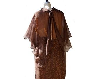 Vintage 50s Brown Lace Chiffon Dress