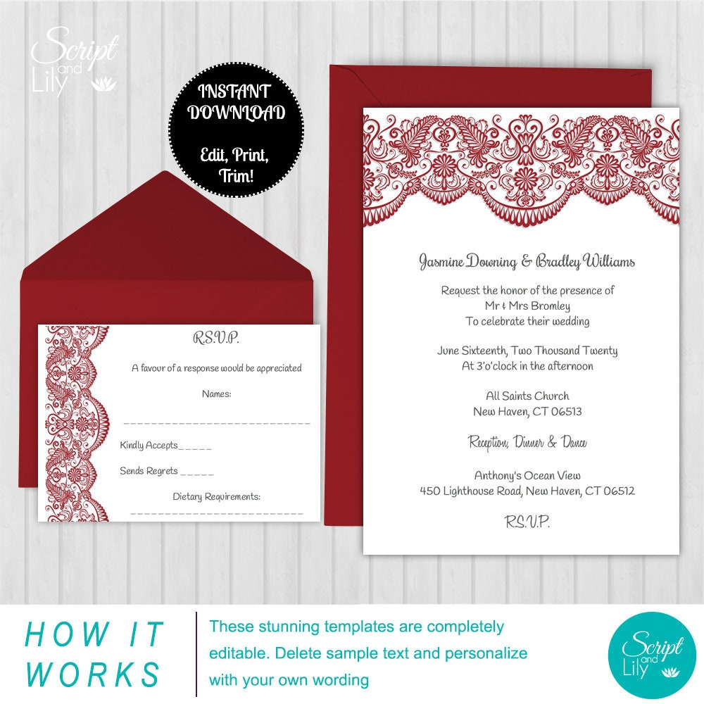 Lace Wedding Invitation & Response Card Templates FREE Color