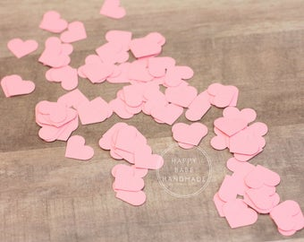 "Pink Heart Confetti, Heart Confetti, 5/8"", 100 Hearts, Pink Hearts, Pink Confetti, Paper confetti, Wedding Confetti, Hand Punched"