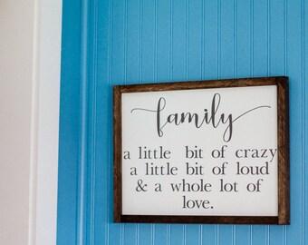 Fixer Upper Family Crazy Loud Love Rustic Farmhouse Sign Decor