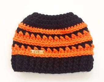 Orange and Black Messy Bun Hat, Trojan School Bun Hat,
