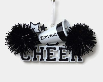 Black Cheerleader  - CHEER - Pom Poms - Hand Personalized Christmas Ornament - Personalized Ornament