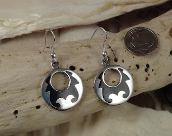 Round Black Native Design Jeweltone Resin Earrings