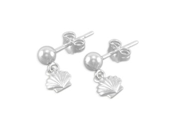 Girls Shell Earrings, Sterling Silver, small dangle, childs jewelry, posts post, ear studs, for niece, birthday gift, shells, beach SAVANNAH