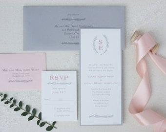 monogrammed wedding invitation suite with grey laurel wreath design - blush pink and grey wedding invitation set