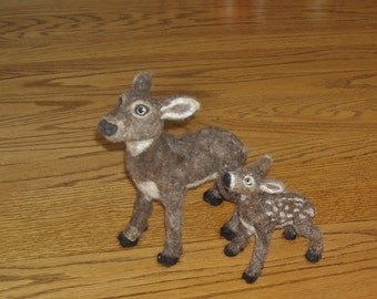 Fawn and Doe - Needle felt deer baby and mother