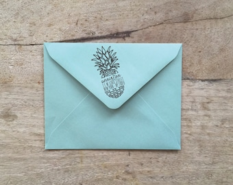 "Cracked Pineapple Return Address Stamp 1"" x 2"" and 2"" x 4"