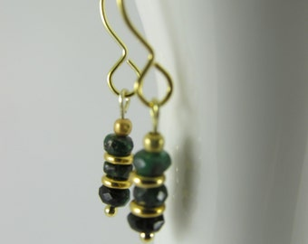 Emerald and Gold Vermeil drop earrings