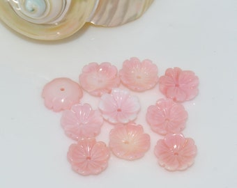 10mm 10pcs Natural US Pink Queen Conch shell flower gemstone beads