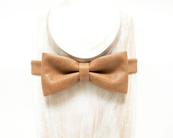 Best Selling Bow Tie Retro tan textured faux leather bow tie