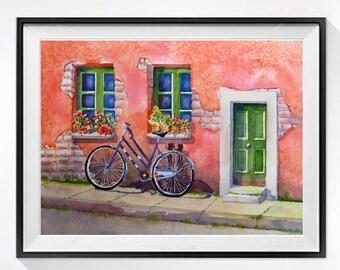 Italian Bicycle Watercolour PRINT, Travel Italian village poster bike art, Italian cityscape bicycle art, pink painting LaBerge Muren Studio