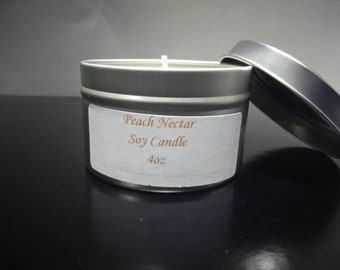 Peach Nectar Soy Candle, Peach Candle, Container Candle, Soy Candle, Soy Wax Candle, Cotton Wick Candle