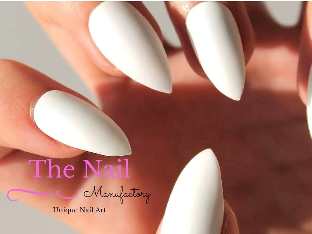 White Matte Fake Nails - Matte False Nails - Available as Pointy ...