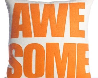 "Throw Pillow, Decorative Pillow, ""Awesome"" pillow, 16 inch"