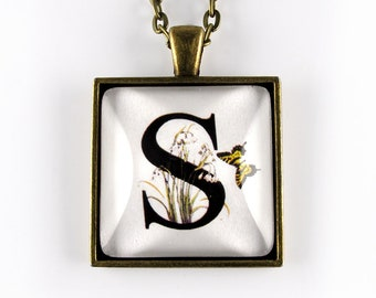 Letter S pendant - flowers and butterflies