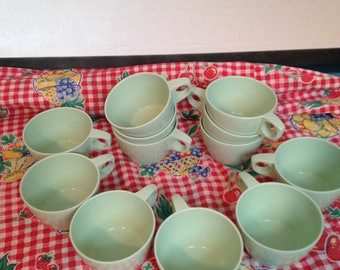 "Texas ware Dallas Texas 12 Cups Mint Green ""OH SO RETRO"""