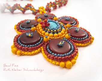 Bead Embroidery Pendant with Spiral Rope, Glass Beads and Horn Buttons, Red Orange Turquoise Necklace, Round Pendant, Spiral Necklace Flower