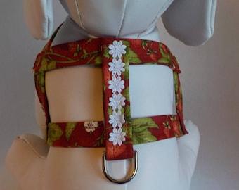 Dog Harness- Dog Clothes - Dog Harness - Dog Harnesses - Strawberries - Custom Dog Harness  - Designer Dog Fashion - Pet Apparel
