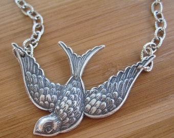 SALE Silver Bird Necklace - Soaring Silver Bird Necklace