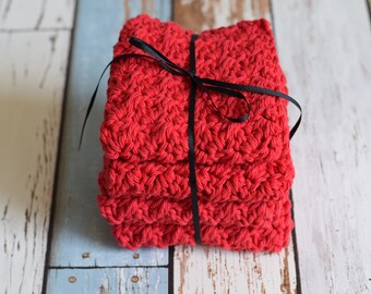 Set of 4 medium, cotton dish cloths/wash cloths***red