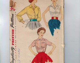 1950s Vintage Sewing Pattern Simplicity 4256 Button Down Sleeveless Blouse Size 12 Bust 30 50s