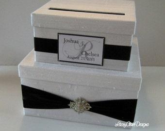 Card Box, Wedding Card Box, Money Holder, Gift Card Holder, Card Holder, Envelope Box, Wedding Gift Box,  Custom Made Black and White