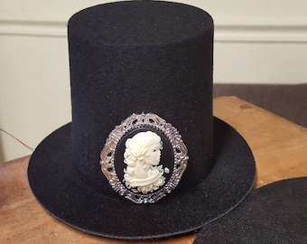 Mini Top Hat with Skull Cameo - Halloween - Steampunk