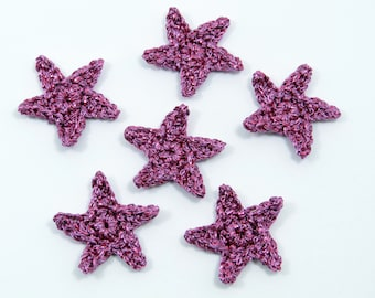 Crochet applique, Christmas appliques,  6 crochet stars. Cardmaking, scrapbooking,  appliques, handmade and sew on patches embellishments