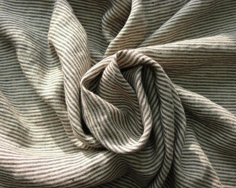 Linen black and gray stripes fabric  with softening--pure linen--natural